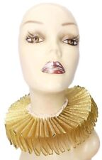 Gold Ruffled Collar Queen Elizabethan Neck Ruff Victorian Steampunk Edwardian Tu