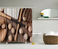 Baseball Bats Glove Sports Brown Fabric Shower Curtain Digital Art Bathroom