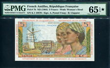 French Antilles 1964, 5 Francs, K1-18870, P7b, PMG EPQ 65 star GEM UNC