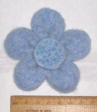 Handmade Pale Blue Wool Felt Flower Corsage Brooch Pin Hippy Boho Easter Present