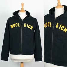 MENS RETRO WOOLRICH ZIP HOODED HOODIE SWEATSHIRT BLACK YELLOW SPELL OUT M