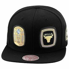 Mitchell & Ness Chicago Bulls Snapback Hat Cap ALL BLACK/6 Championship Rings