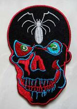 #18 Skull Spider Design Motorcycle Biker Embroidered Iron on Patch Free Postage