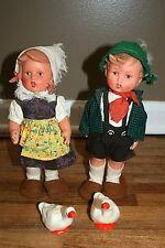 Vintage Hummel Vinyl Boy and Girl Dolls with Geese