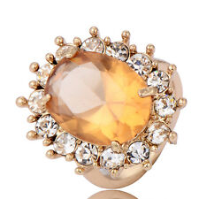 lucky 14k gold filled crystal ultra big oval egg cz and micro cz wedding rings