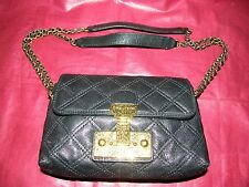 MARC JACOBS Crossbody BLACK Quilted LEATHER Purse w/ Chain Strap w/ Key