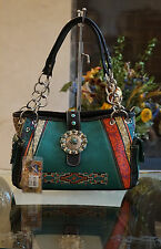 Western Montana West Aztec Turquoise Concho 3 Compartment Shoulder Handbag/Purse