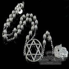 14k Black Gold Finish Lab Diamond Bead Ball 6 Point Star Chain Rosary Necklace