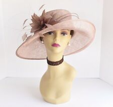 L17 Kentucky Derby Church Wedding Carriage Feather Flower Sinamay Medi hat Taupe