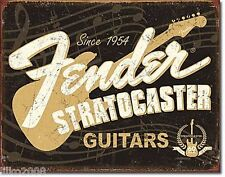 FENDER GUITARS 1954, USA,STRATOCASTER, ANTIQUE-FINISH METAL WALL SIGN 40x30 cm
