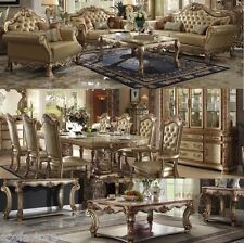 Dresden Gold Antique Sofa set & Vendome Gold Traditional Dining set #53160