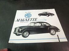 Original 1955 MG Magnette Spec Sheet/ Brochure