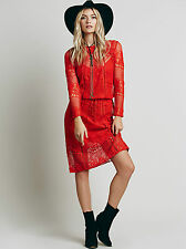 Free People Red Luna Lace Crochet Boho Festival Beach Midi Dress S NWT $168