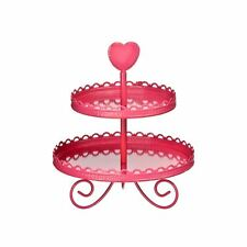 2 Tier Cake Stand Hot Pink Enamel Heart Shape handle Design