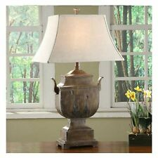 "LARGE 34"" URN STYLE RUSTIC WOOD RESIN FINISH TABLE LAMP LINEN SHADE DESK LIGHT"