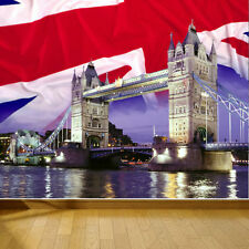WALLPAPER TOWER BRIDGE LONDON UNION JACK WALL PAPER 300cm wide 240cm tall WMO039