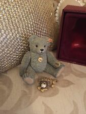 ENESCO STEIFF 1998 CLASSIC SILVER BEAR WITH MOLLY LEO PEWTER MINIATURE
