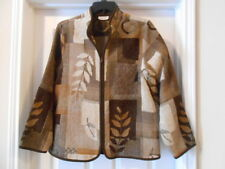 Womens COLDWATER CREEK Textured Tapestry Brown Top Zippered Jacket sz M L 8 10