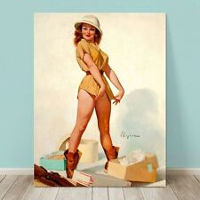 "VINTAGE Pin-up Girl CANVAS PRINT Gil Elvgren  36x24"" Sexy Game Hunter"