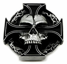 Skull Belt Buckle Totenkopf & Cross Fully 3D Heavy Gothic Official Pagan Product