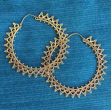Goddess Sun Large Hoop Tribal Hook Earrings in Brass