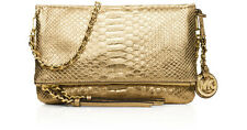 NWT $298 MICHAEL KORS Metallic Leather Corinne Chain Crossbody Pale GOLD FreeSH