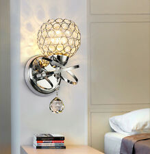 Modern Silver Chrome Crystal LED Wall Light Lamp Sconce Fixture Bedroom Hallway