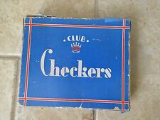 Vintage Embossing Co. Wooden Checkers with crown design in original box