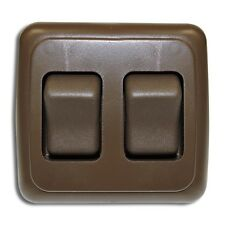 Double 2 Gang On-Off 12 volt Brown Light Switch - RV Camper Trailer Marine Boat