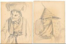 Antique Lot of 2 Chinese Japanese Dbl-Sided Portrait Pencil Sketches