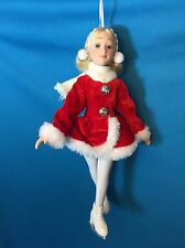"6"" Poseable Porcelain Winter Ice Skater Doll /Red Dress ~ Christmas Ornament"