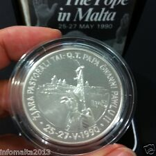 1990 Malta Pope in Malta Silver Proof Coin Box And Certificate #0557