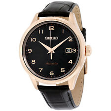 Seiko Neo Classic Black Dial Black Leather Mens Watch SRP706