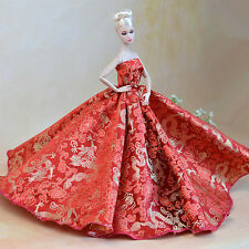 Gorgeous Barbie Bright Red Chinese Dragon Wide Dress Cloth Gown + Hat