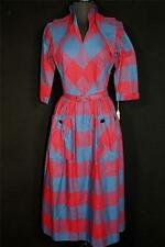 VERY RARE VINTAGE DEADSTOCK 1950'S BLUE, RED & BLACK CHECK COTTON DRESS SIZE 6