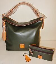 New  Dooney & Bourke Smooth Leather Hobo with Accessories in Forest