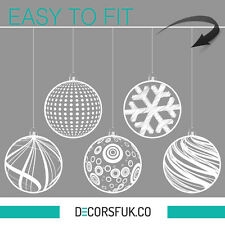 Christmas Decoration 5 globes Stickers - window decoration - clear vinyl