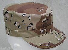 MIL-SPEC 6-COLOR CHOCOLATE CHIP DESERT CAMO PATROL CAP HAT SIZE 7 1/4 U.S. MADE
