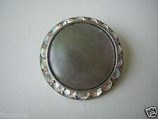 Antike Modeschmuck Brosche Aurora Borealis & bunter Perlmutt Einlage 6,4 g