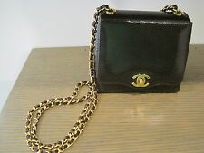 PRE OWNED CHANEL CHOCOLATE BROWN SNAKESKIN GOLD SHOULDER CHAIN MINI