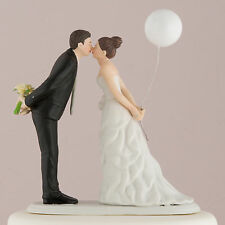 Wedding Cake Topper Porcelain Leaning In for a Kiss Couple with Balloon