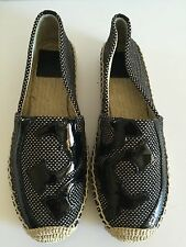 Tory Burch 'Lonnie' Logo Espadrille Flat, Black Canvas/Soft Patent  Size 5.5