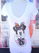 NEW DISNEY MINNIE MOUSE GRAPHICS WATERCOLOR PAINT WHITE SHORT SLEEVE SM COTTON