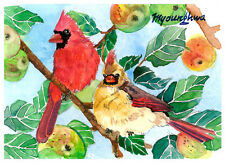 ACEO Limited Edition- A cardinal pair on a crab apple tree