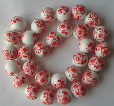 20 x Hand Printed Round Red Porcelain Ceramic Bead 12mm Japanese/Floral Style P4