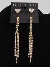 Guess Goldtone Faceted Triangle Stud Rhinestone Cup Chain Linear Earrings Duo