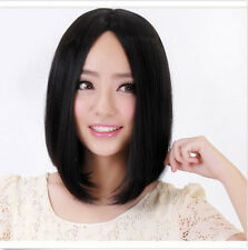 Fashion Short Straight New Black Silky Women Wig Cosplay Heat Hair Anime Wigs