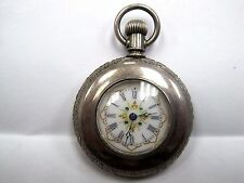 Antique BEAUTIFUL SILVER ENGRAVED/FANCY DIAL American Waltham Pocket.