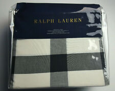 RALPH LAUREN DOWNTOWN MODERN HUDSON BLACK CREAM CHECK KING DUVET COVER