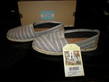 Brand New Womens Brown Metallic Stripe Rope Sole Toms Slide On Shoes, Size 6.5